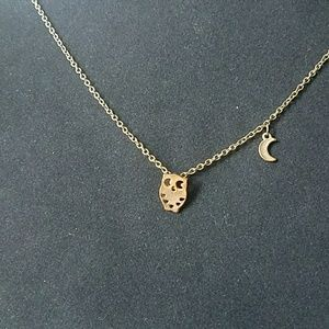 Last Day! Bronze owl and moon necklace
